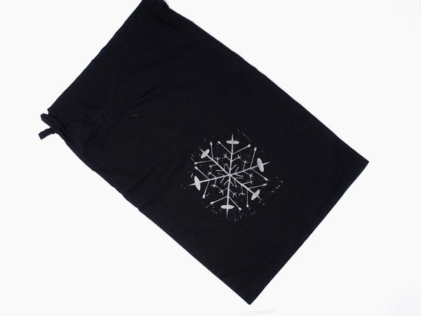 Spindle Snowflake. Hand printed, large, drawstring cotton bag