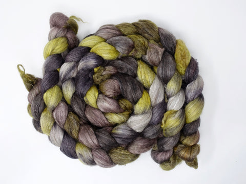 Corriedale, Yak, Rose, Hand Dyed Combed Top- Repeating, 100g