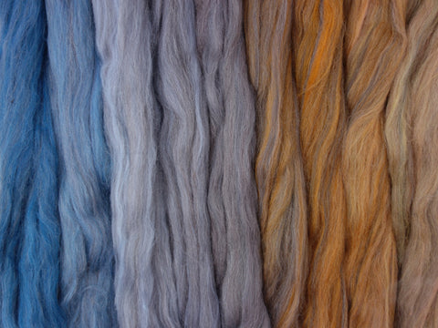 Desert Skies Gradient Pack- Blended Spinning Fibre, Gradient Roving Set 140g 4.9oz
