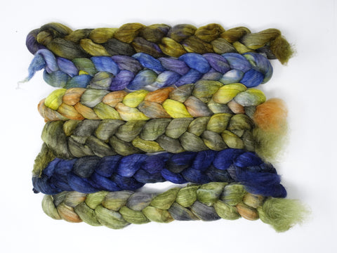 Dyers Half-Dozen- Polwarth, Superfine Merino, Silk, 6 co-ordinating mini braids, Hand Dyed Wool, 360g