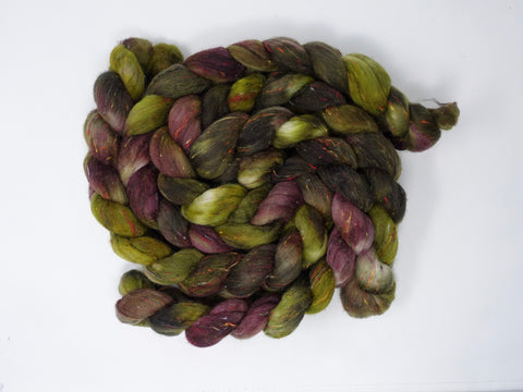 Tweed Wool. South American Wool & Viscose Tweed Nepps. Hand Dyed Combed Top, Variegated, 100g