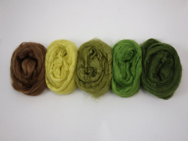Green silk, mixed colour pack