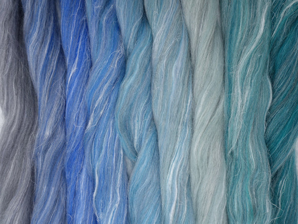 Glas Gradient Pack- Blended Spinning Fibre, Gradient Roving Set 140g 4.9oz