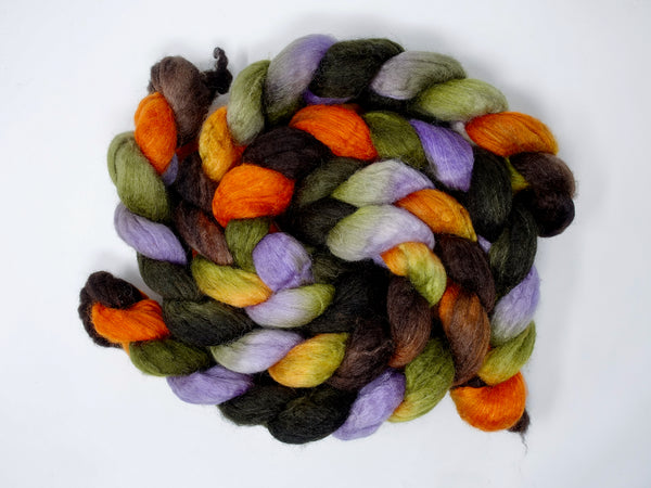 BFL, Cashmere & Silk. Hand Dyed Combed Top, Repeating Colourway, 100g