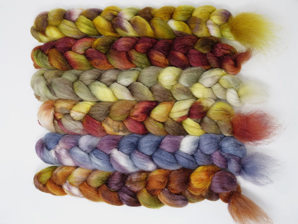 Dyers Half-Dozen- Sock Blend, 6 co-ordinating mini braids, Hand Dyed Wool, 360g