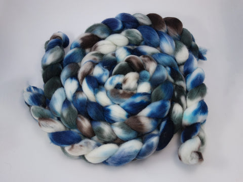 Cambrian Wool, Hand Dyed Welsh x BFL Wool, 100g. Variegated - Hilltop Cloud