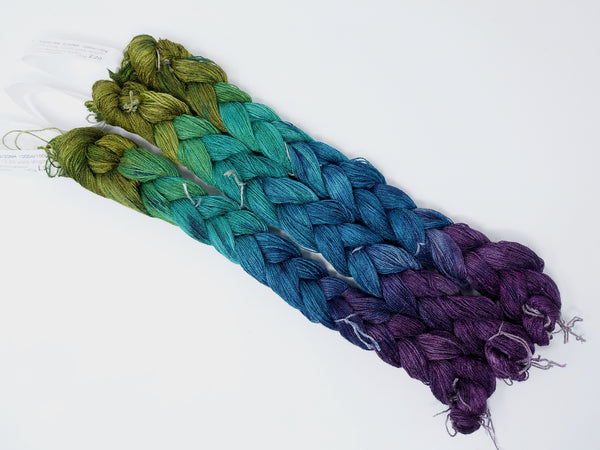 Hand Dyed Gradient Warp- Tussah Silk 2/20NM ~1000m per 100g. 174 ends. ~2.2m length. ~45g