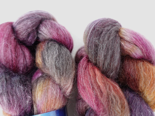 Corriedale, Yak, Rose, Hand Dyed Combed Top- Variegated & Semi Solid, 100g