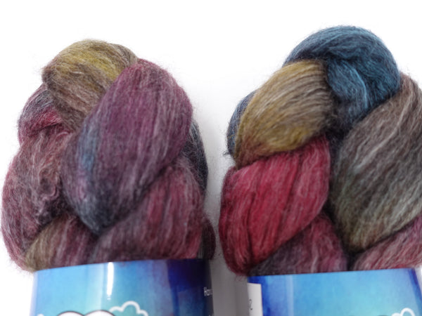 Corriedale, Yak, Rose, Hand Dyed Combed Top- Repeating & Semi Solid, 100g