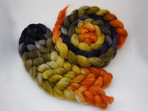Sock Fibre, Superwash Cheviot, Silk & Nylon. Hand Dyed Combed Top, Mirror Gradient. 120g