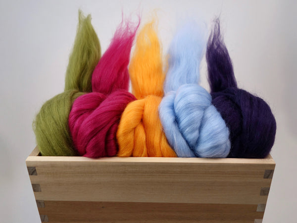 Mixed Pack- Superfine 19 micron Merino & Tussah Silk, 70-30 blend. 100g- Tulip (DHG) - Hilltop Cloud