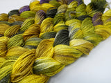 Hand Dyed Variegated Warp- Tussah Silk 2/8NM ~400m per 100g. 150 ends. ~2.2m & 4.8m length. ~100g
