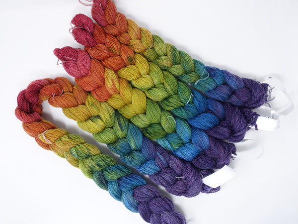 Hand Dyed Gradient Warp- Cambrian Wool 2/6NM ~300m per 100g. 120 ends or 79 ends. ~2.2m or ~4.8m length