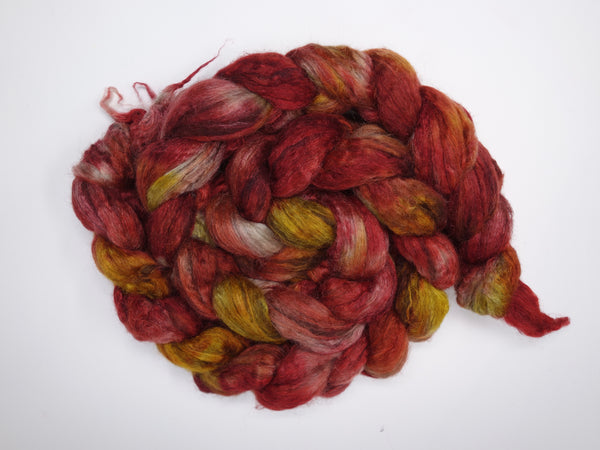 Silken-Yak-Paca,  Hand Dyed Combed Top, Variegated, 100g - Hilltop Cloud