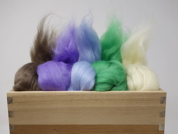 Mixed Pack- Superfine 19 micron Merino & Tussah Silk, 70-30 blend. 100g- Lavendula (DHG) - Hilltop Cloud