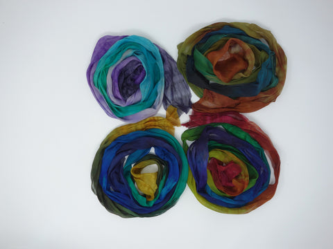 Silk Chiffon- Bias Ribbon, 10cm x 2m, Hand Dyed Gradient