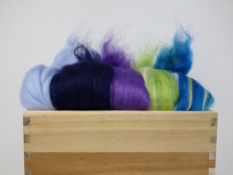 Mixed Pack- Superfine 19 micron Merino & Tussah Silk, 70-30 blend. 100g- Delphinium (DHG)