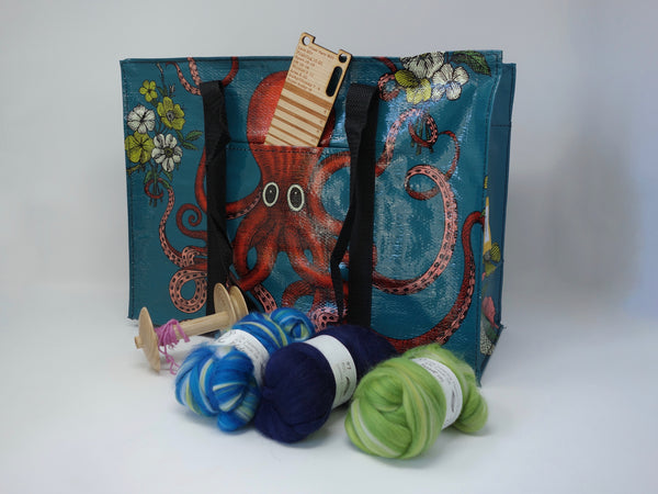 Small Zipped Shopping Bag -Octopus (Blue Q)