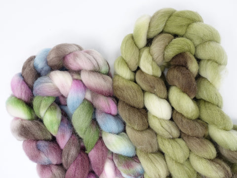 Southdown, Hand Dyed Combed Top, 120g, Variegated  and Semi-Solid Colourway