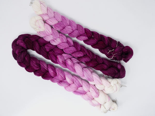 Hand Dyed Gradient Warp-  Organic Merino 2/7NM ~350m per 100g. 150 ends. ~2.2m or 4.8m length.