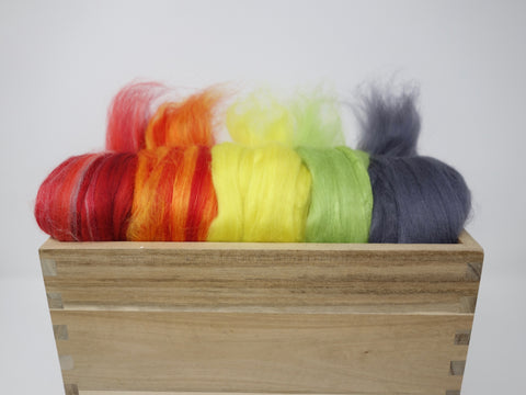 Mixed Pack- Superfine 19 micron Merino & Tussah Silk, 70-30 blend. 100g- Red Hot Poker (DHG)
