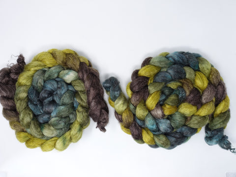 Romney, Silk & Linen. Hand Dyed, Variegated - 100g. British Wool
