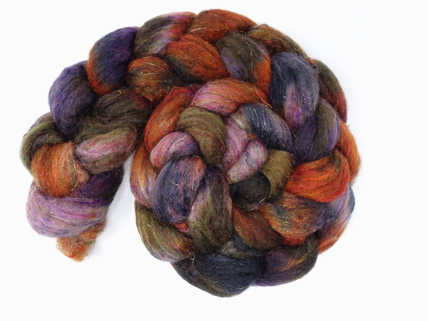 Textured Blend, BFL, Manx Loaghtan, Sari Silk, Stellina. Hand Dyed, Semi-Solid & Variegated. 100g. British Wool