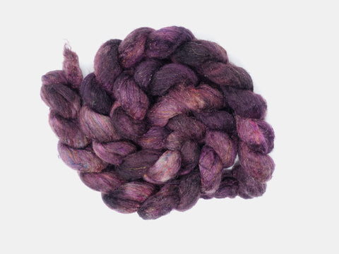 Textured Blend, BFL, Manx Loaghtan, Sari Silk, Stellina. Hand Dyed, Semi-Solid. 100g. British Wool
