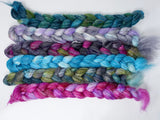Dyers Half-Dozen- Camel, Seacell & Nylon, 6 co-ordinating mini braids, Hand Dyed, 360g