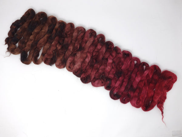 Silk & Kid Mohair, Hand Dyed, Gradient. 100g