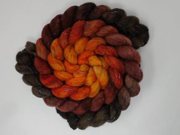Tweed Wool. South American Wool & Viscose Tweed Nepps. Hand Dyed Gradient, Combed Top, 100g