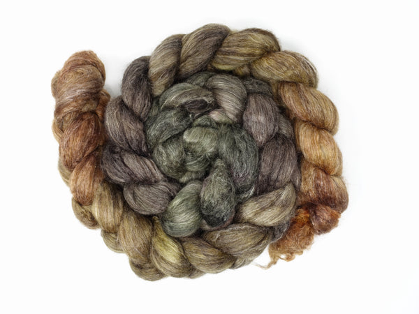 Corriedale, Yak, Rose, Hand Dyed Gradient,  Combed Top 100g