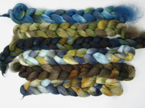 Dyers Half-Dozen- Rio Gallegos Wool, 6 co-ordinating mini braids, Hand Dyed 360g