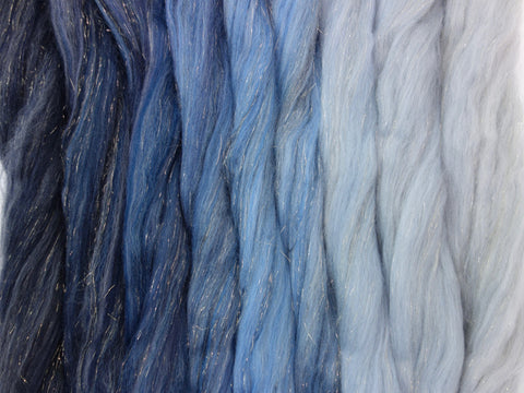 Winter Sunshine Gradient Pack- Blended Spinning Fibre, Gradient Roving Set 140g 4.9oz - Hilltop Cloud - 1