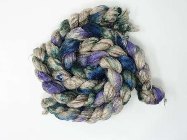 Silken-Yak-Llama,  Hand Dyed Combed Top, Variegated, 100g