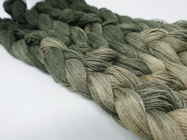 Hand Dyed Ombre Gradient Warp- Tussah Silk 2/20NM ~1000m per 100g. 210ends. ~2.2m or 5m length.
