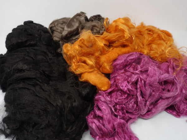 Mulberry Silk Waste Mixed Bag- 500g. Assorted colours