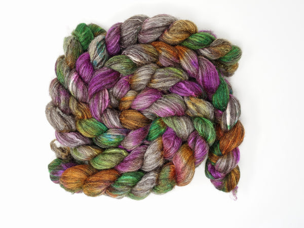 Zwartbles & Silk. Hand Dyed Variegated.  100g