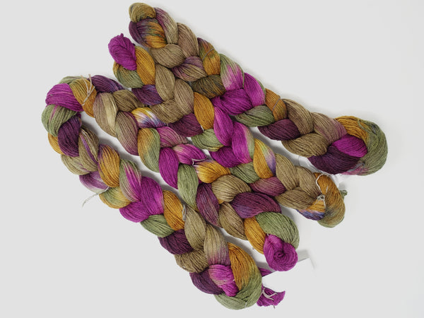 Hand Dyed Striped Warp- Superfine Merino & Camel 4/16NM ~400m per 100g. 150 ends. ~2.2m  or ~4.8m length