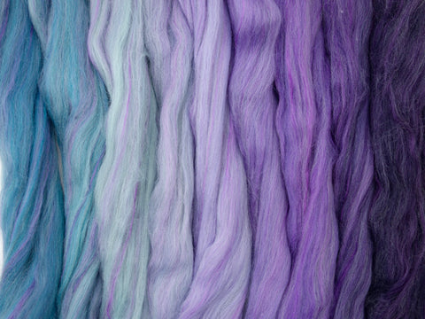 Mineralise Gradient Pack- Blended Spinning Fibre, Gradient Roving Set 140g 4.9oz - Hilltop Cloud