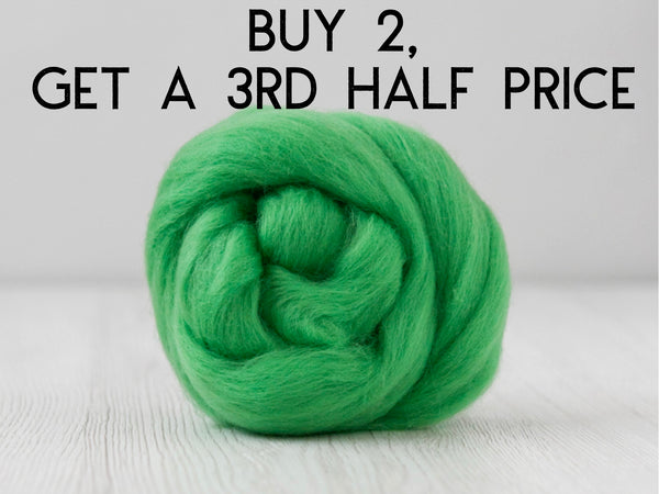 Emerald Green Superfine Merino and Silk Fiber