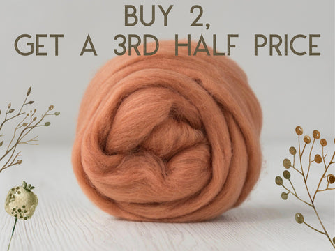Superfine, 19 micron Merino. Naturally Dyed. 50g-Ginger (DHG)
