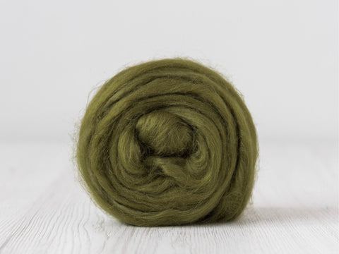 Tussah Silk Tops- 100g- Olive (DHG)