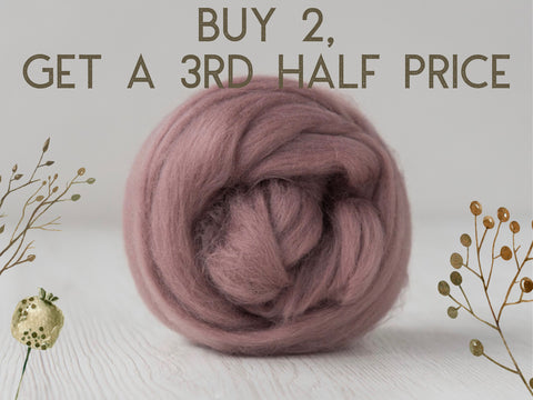 Superfine, 19 micron Merino. Naturally Dyed. 50g- Plum (DHG)