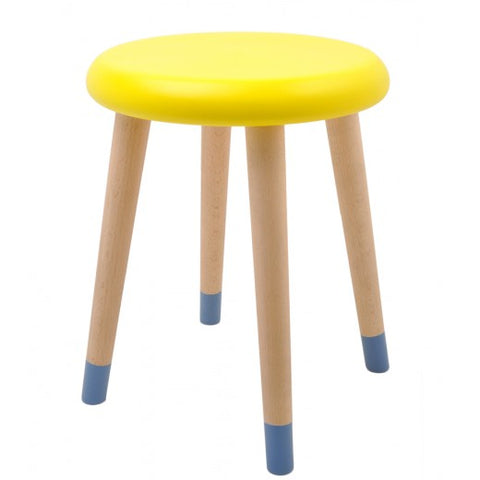 Lemon yellow & paradise blue stool by Rose in April