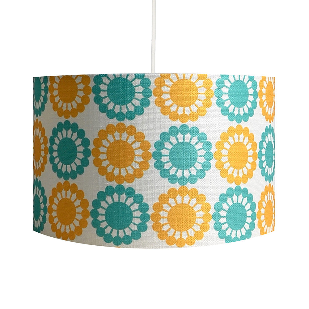 Martha's Flowers Yellow/Teal Lampshade - hunkydory home