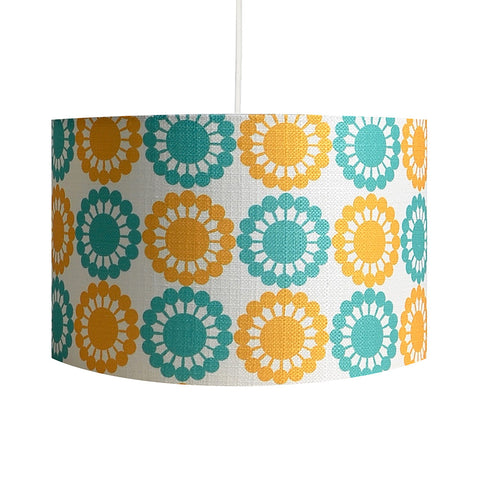 Martha's Flowers Yellow/Teal Lampshade