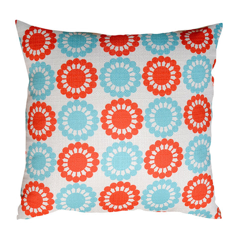 Martha's Flowers Red and Blue Cushion