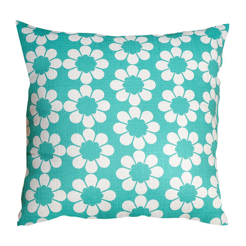 Isobel's Flowers teal Cushion