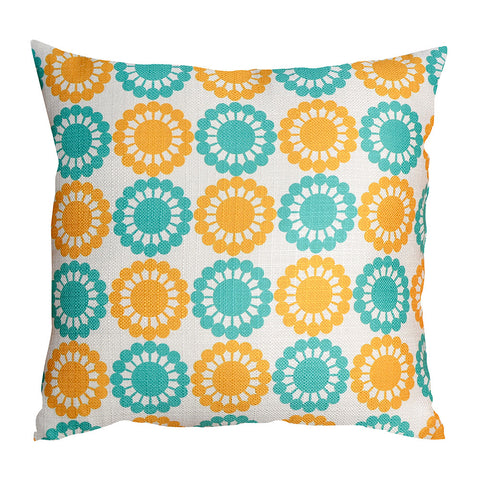 Martha's Flowers Yellow/Teal Cushion